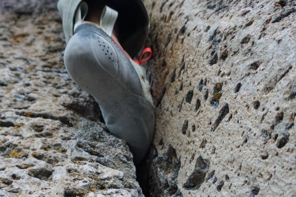 Using rock climbing shoes.
